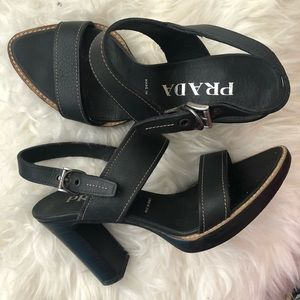 Prada Block Heel Sandals